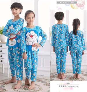 Setelan Anak Doraemon Smile Blue Full Print