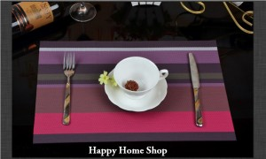 Alas Makan / Alas Piring / Table Mat PVC Anti Slip Ungu (Stripe)