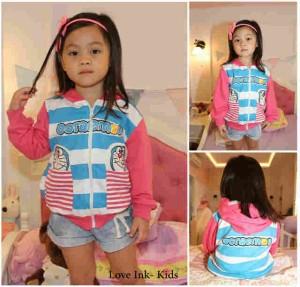 Jaket Anak Doraemon Blue Stripe Pink 2 Pocket