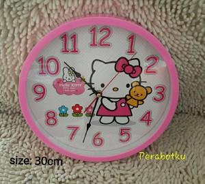Jam Dinding Bulat tebal Jumbo besar 30 cm Karakter HELLO KITTY pink
