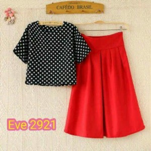 grosir baju 1 set ( atasan polka dan celana bentuk rok )