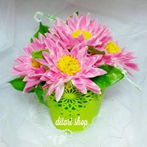 bunga plastik besar lotus dan vas/artificial/shabby chic/pot bunga