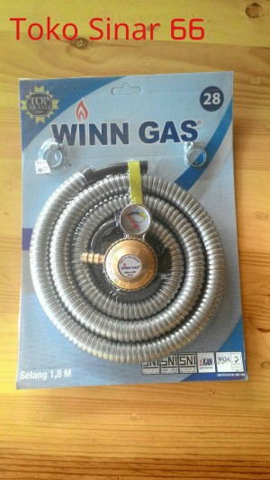 WINN GAS PAKET SELANG SPIRAL 06 + REGULATOR METER