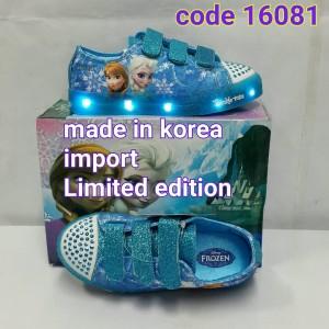 harga sepatu lampu anak frozen import korea bagus biru Tokopedia.com