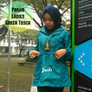 jaket parka ladies baby canvas hijau tosca muda