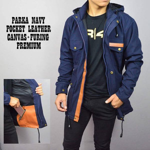 JAKET BRANDED PRIA PARKA LEATHER NAVY BABY CANVAS PREMIUM