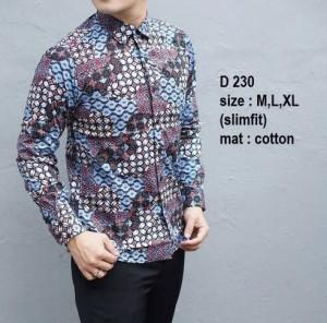 Baju Kemeja Batik Pria Slim Fit Modern D230