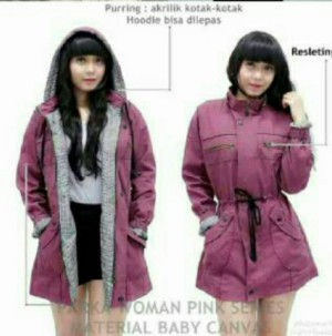 jaket parka ladies baby canvas magenta
