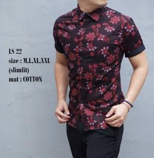Baju Kemeja Batik Pria Slim Fit Modern LS22
