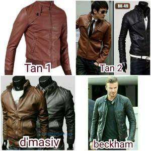 jaket kulit beckham, tan, dmasiv, jaket motor, jaket touring, korea