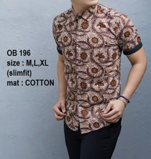 Kemeja Batik Slim Fit Pria OB196 - Baju Batik Slim Fit