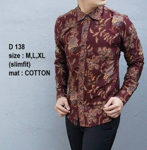 Kemeja Batik Slim Fit D138 - Baju Batik Pria Slim Fit