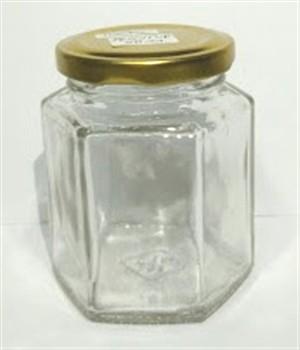 Botol Toples Beling Jar 100ml (kaca) : Segienam (Hexagon) & penutup