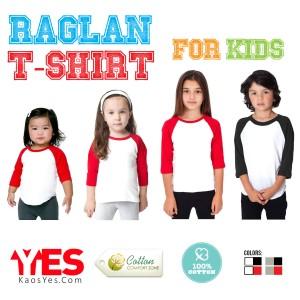 KaosYES Kaos Polos T-Shirt KID RAGLAN LENGAN 3/4