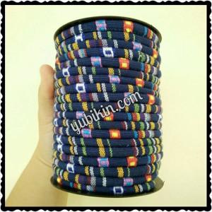 Tali Tenun Biru Garis 6mm Tribal Ethnic Stitched Fabric Cord