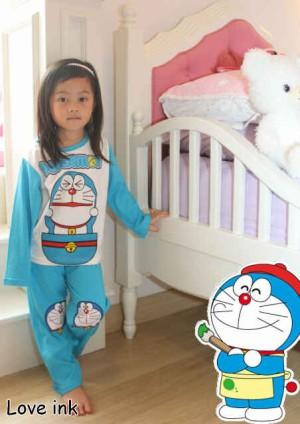 Setelan Piyama Anak Doraemon Peek Blue