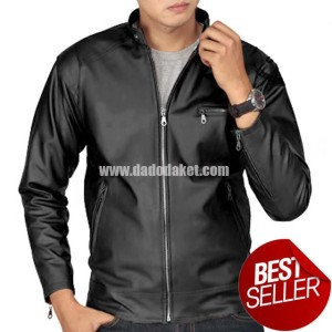 BEST SELLER!! Jaket Semi Kulit Sintetis Model ABG Polos Pria Casual
