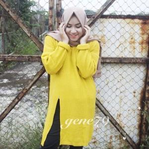 slit sweater kuning