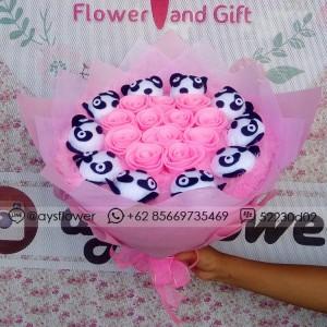 Buket Bunga Flanel Panda Kado Valentine Wisuda