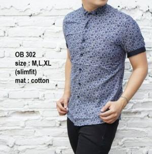 Baju Batik Kemeja Pria Slim Fit Modern OB302