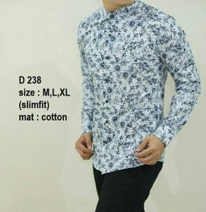 Baju Batik Slim Fit Pria Modern Lengan Panjang D238