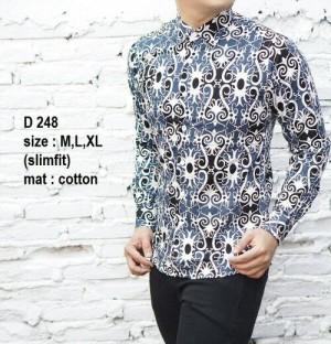 Kemeja Batik Slim fit Pria Modern D248
