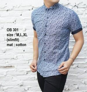 Baju Batik Kemeja Pria Slim Fit Modern OB301