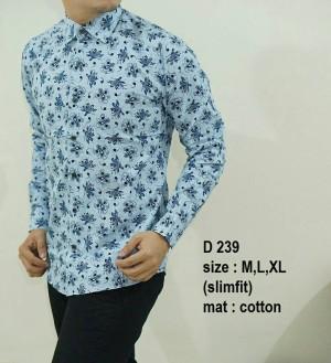 Baju Batik Kemeja Pria Slim Fit Modern D239