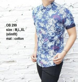 Baju Batik Kemeja Pria Slim Fit Terbaru Modern OB299