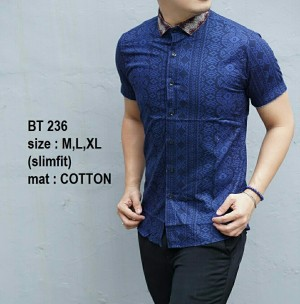 Baju Kemeja Batik Pria Modern Lengan Pendek BT236