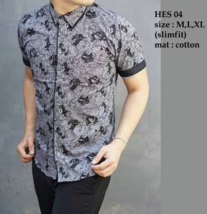 Baju Batik Kemeja Pria Slim Fit Modern HES04