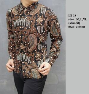 Baju Batik Kemeja Pria Slim Fit Modern LB18