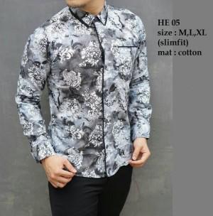 Baju Batik Kemeja Pria Slim Fit Modern Lengan Panjang HE05