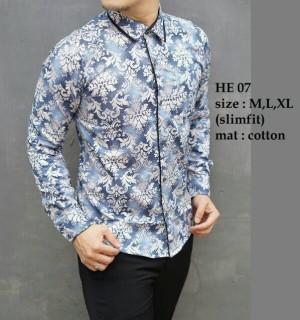 Baju Batik Kemeja Pria Slim Fit Modern HE07