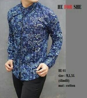 Baju Batik Kemeja Pria Slim Fit Modern Lengan Panjang HE01
