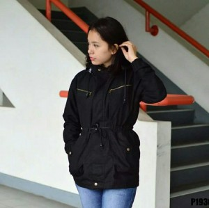 jaket parka ladies baby canvas hitam