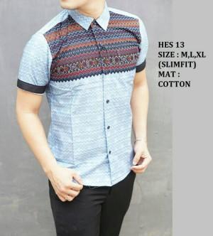 Baju Batik Slim Fit HES13 - Kemeja Batik Slim Fit