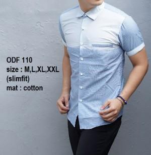 Kemeja Slim Fit Pria Modern Lengan Pendek ODF110