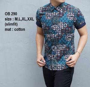 Kemeja Batik Pria Slim Fit Modern Lengan Pendek OB290