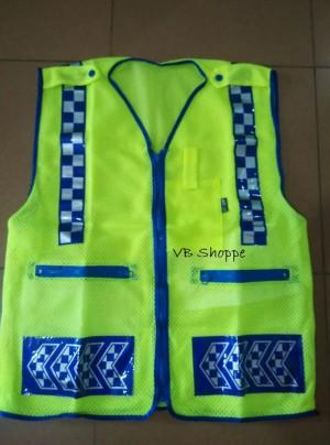 rompi jaring / jala / safety vest proyek security tebal + scotlite