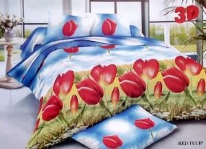 Bedcover Disperse Motif Red Tulip – ukuran 180 x 200 / King / No.1