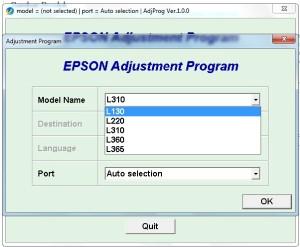 Resetter Epson L130, L220, L310, L360 & L365 Unlimited