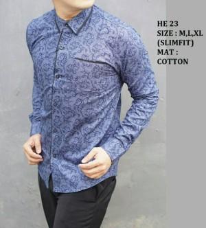 Kemeja Batik Pria modern Slim fit lengan panjang HE-23