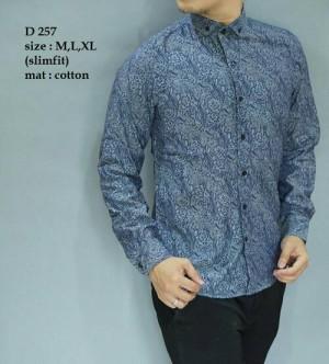 Baju Kemeja Pria Batik Modern Slim fit lengan panjang D-257