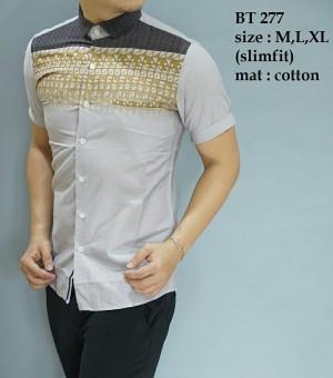 Baju Kemeja Batik Pria modern slim fit lengan pendek BT-277