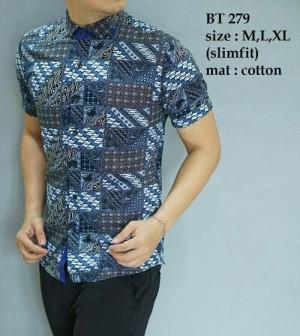 Baju Kemeja Pria Batik Modern Slim fit lengan pendek BT-279