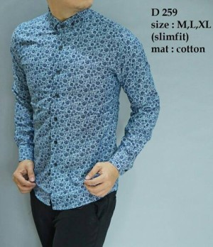 Baju Kemeja Batik Pria modern slim fit lengan panjang D-259