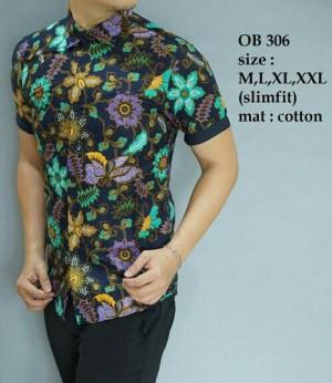 Baju Kemeja Pria Batik modern Slim fit lengan pendek OB-306