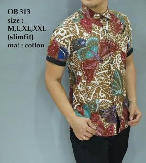 Kemeja Pria Batik Modern Slim fit lengan pendek OB-313
