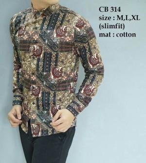 Baju kemeja pria batik modern slim fit lengan panjang CB-314